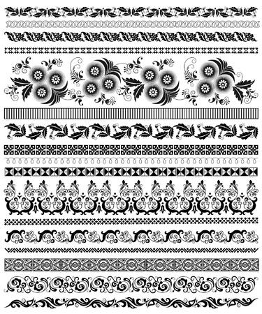 set of decorative floral borders Illustration