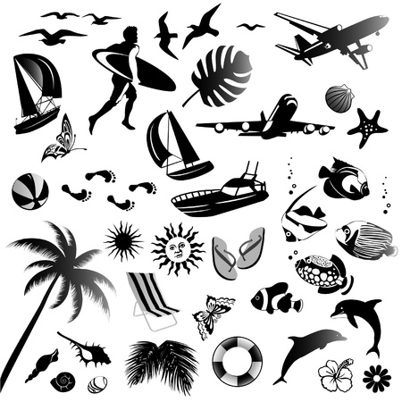 set of icons of summer