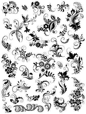 set of graphic floral elements Ilustração