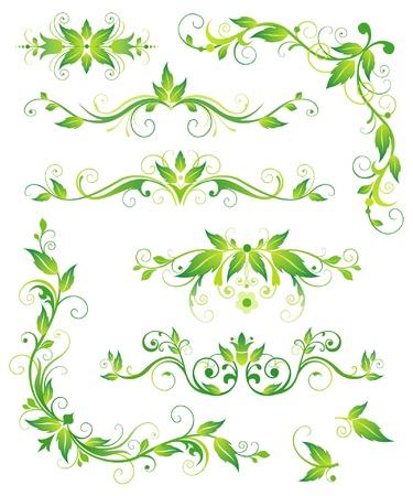 設計のための花の緑の要素  イラスト・ベクター素材
