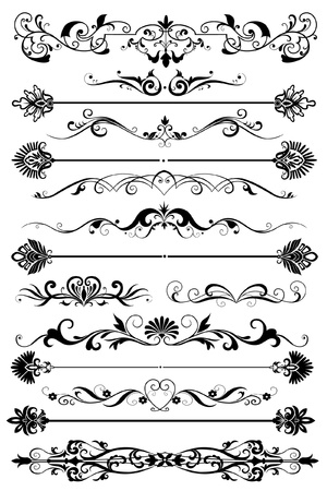page decoration: set van grafische elementen voor pagina decoratie Stock Illustratie
