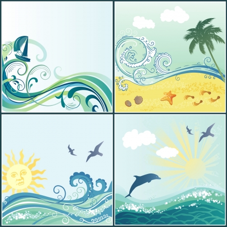 set of maritime backgrounds with place for your text