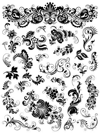 виньетка: Цветочные элементы для дизайна Иллюстрация
