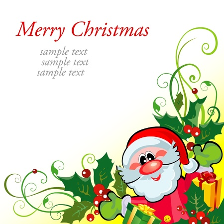 Christmas greeting card with Santa Stock Vector - 15122328