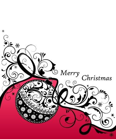 Christmas card with ornate ball