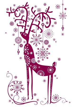 Background with reindeer Vector