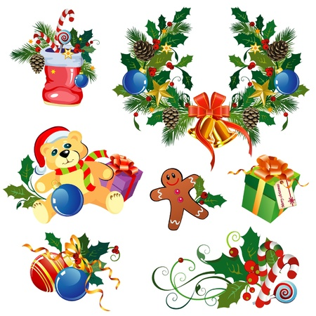 Set of decorative Christmas elements Illustration