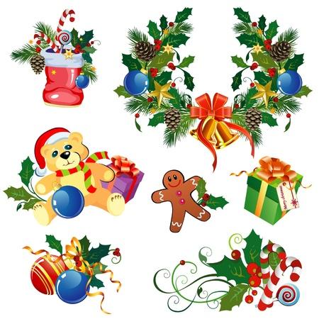 Set von dekorativen Weihnachten Elemente Standard-Bild - 15122339