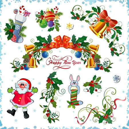 natal: Set of decorative Christmas elements Illustration