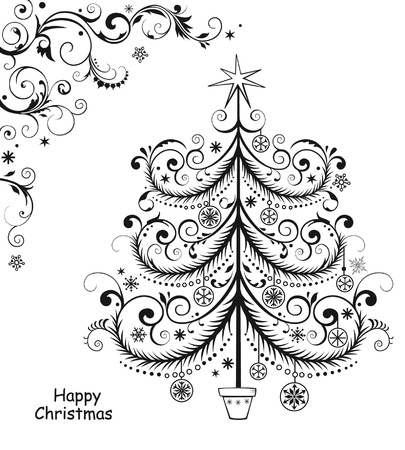 natal: Background with Christmas tree Illustration