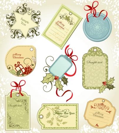 set  Christmas labels