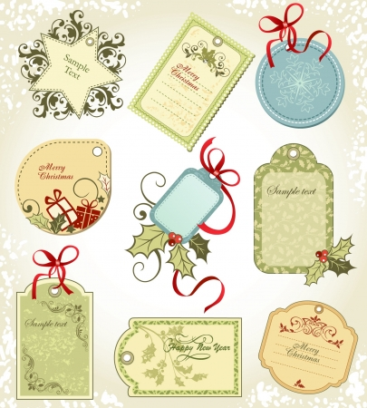 set  Christmas labels Vector