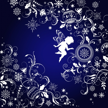 natal: Christmas ornate background with angel Illustration