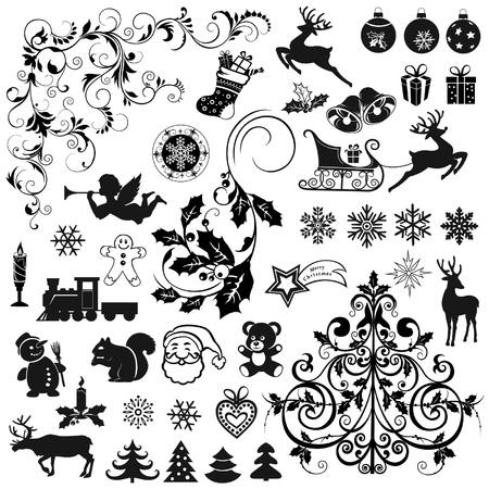 osos navideños: Conjunto de iconos de Navidad y elementos decorativos