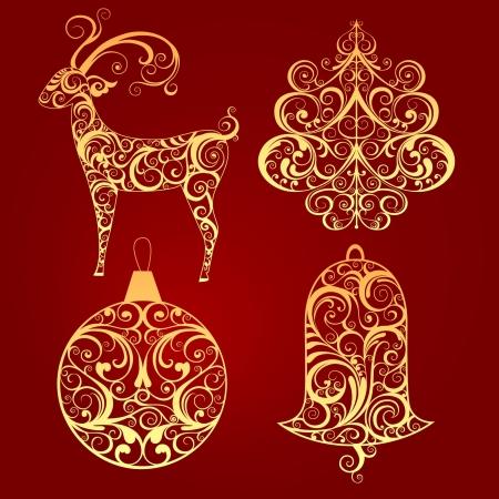 Decorative elements for Christmas design 일러스트