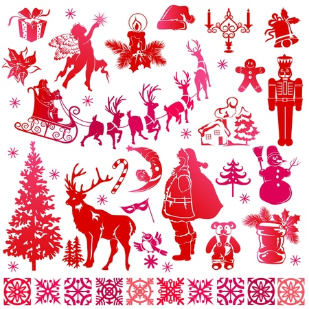 nutcracker: set of Christmas elements Illustration