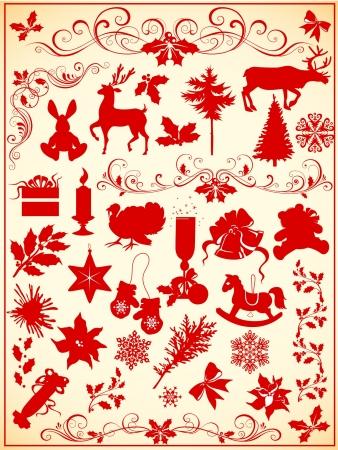 christmas reindeer: set of Christmas elements Illustration