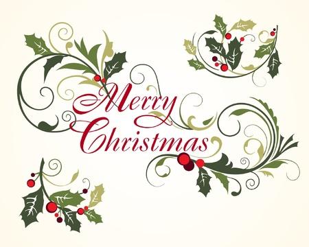 christmas holly: Christmas card