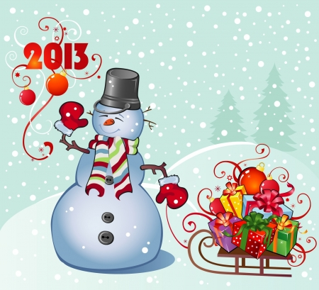natal: snowman with gifts