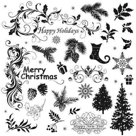 Set of Christmas elements Ilustração