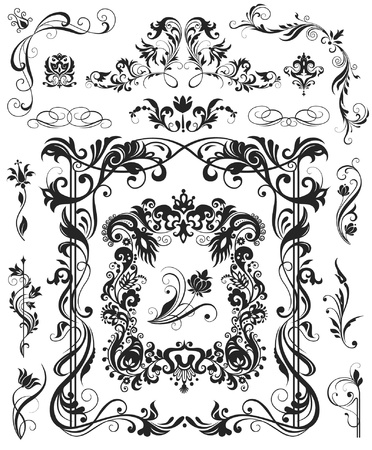 Floral design elements and frame