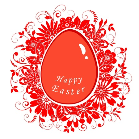 Easter card with eggs and ornaments Illustration