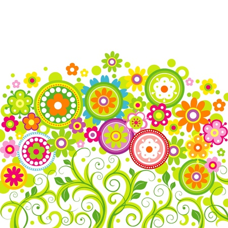 Bright flowers on a white background Illustration