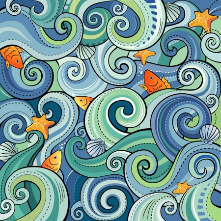 Background with waves, fish, shells and starfish Vector