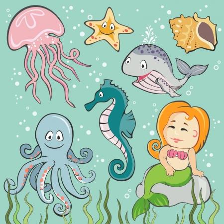 Vector Conjunto de las criaturas del mar Ilustración de vector