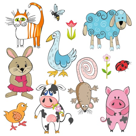 house mouse: set of cartoon animals