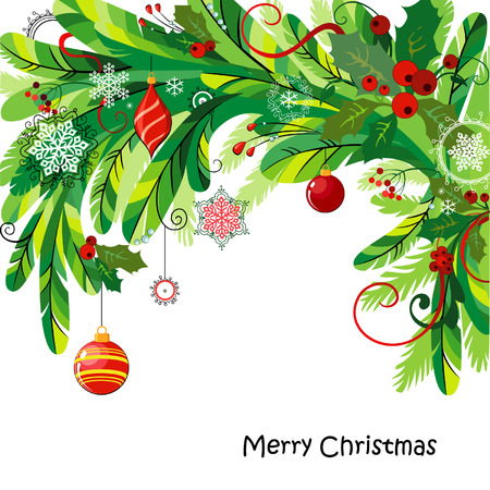 Christmas background with fir twigs, balls and holly Vector