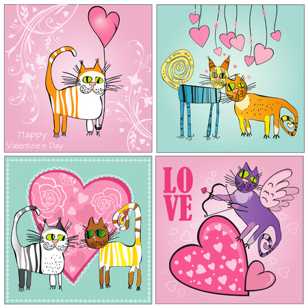 Set of Valentines Day cards  with cats Illustration