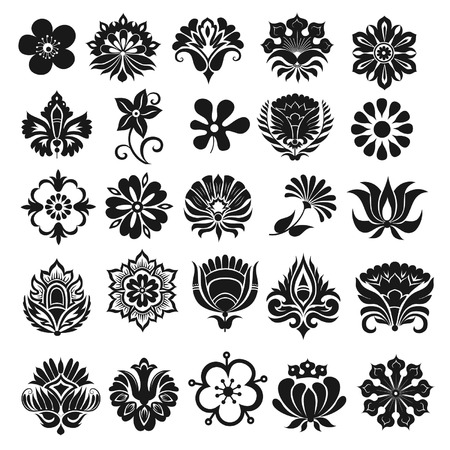 Set of graphical icons flowers Illustration