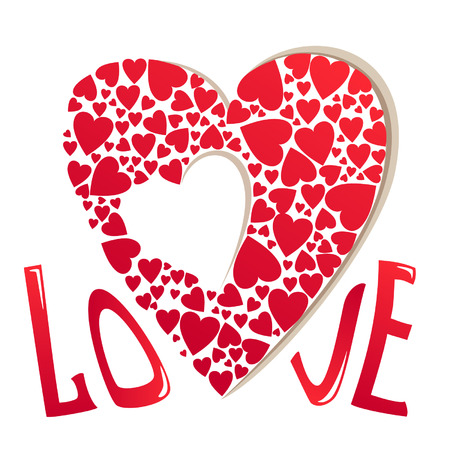 Valentines Day greeting card with heart Illustration