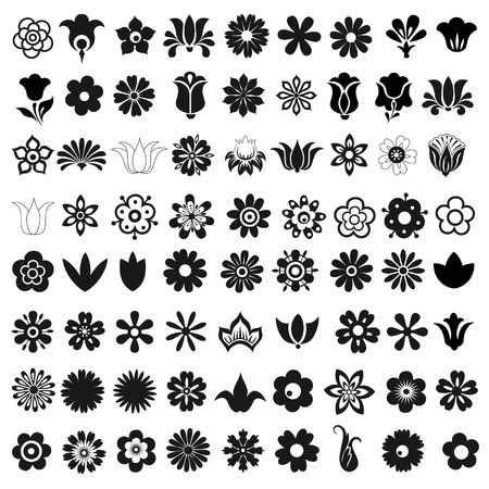 Set of 72 vector icons flowers Illustration