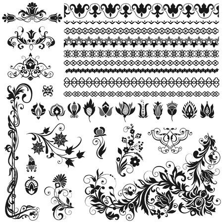 borde de flores: Adornos caligr�ficos, bordes, vi�etas