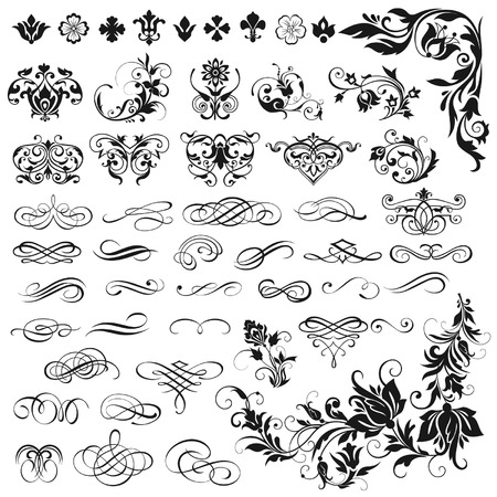 Vector set of calligraphic elements for design Stock Illustratie