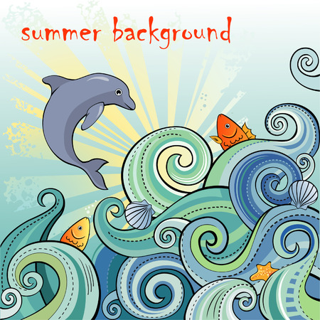 Summer backgrpund with waves and dolphin