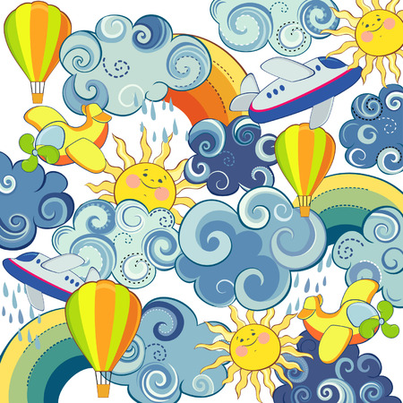 Childrens background with sun clouds airplanes and balloons