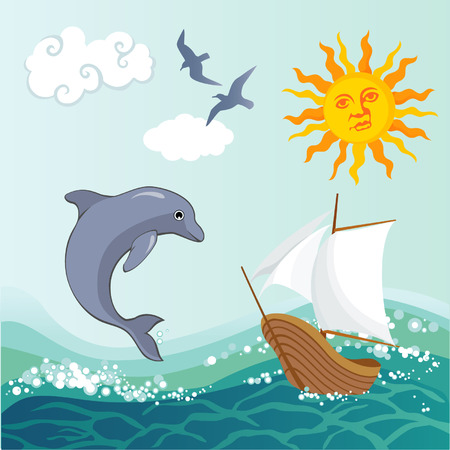 Summer background with a sea ship and dolphin Illustration
