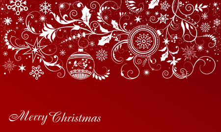 Christmas red background with white ornament Illustration