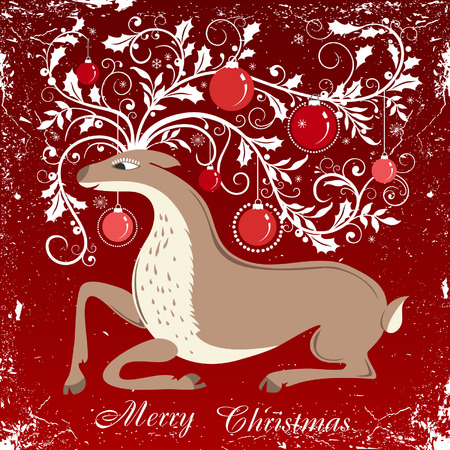Red Christmas background with reindeer 일러스트