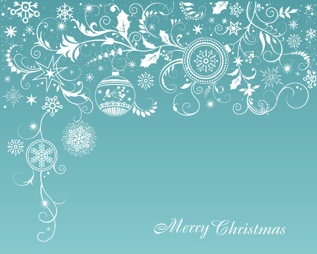 Christmas and New Year greeting card with ornamen