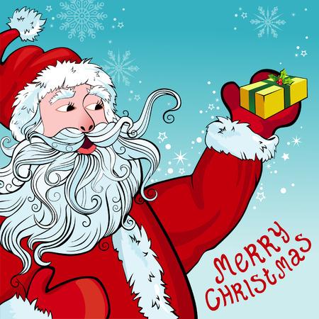 Christmas and New Year greeting card with Santa