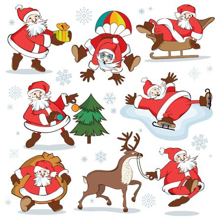 Set of cartoon santa claus vector illustration for Christmas cards