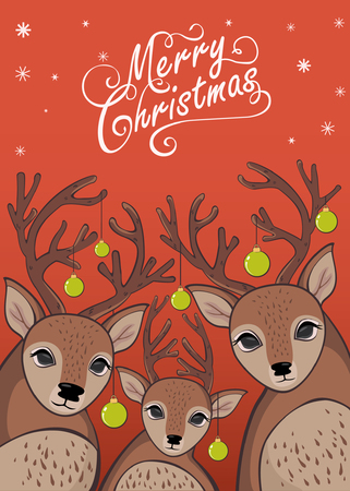 Merry Christmas and New Years Card Reindeers