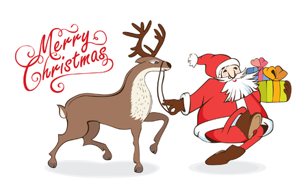 Christmas card Santa Claus with gifts and reindeer