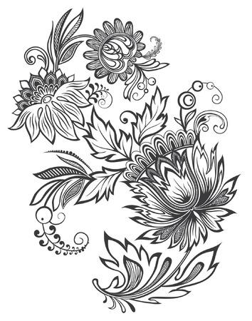 Vector illustration of black and white flower ornament