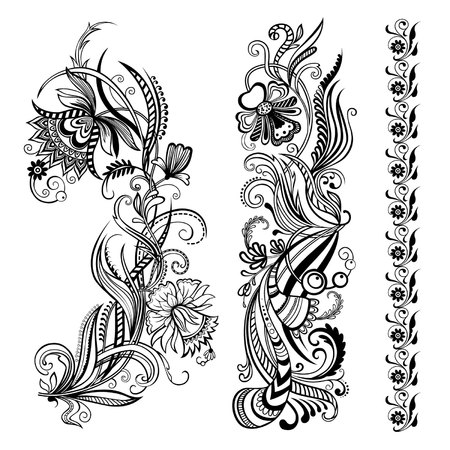 Vector set of floral calligraphic elements, flower ornaments for page decoration and design