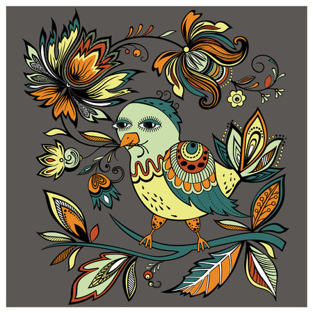 Vector illustration of a bird sits in a beak